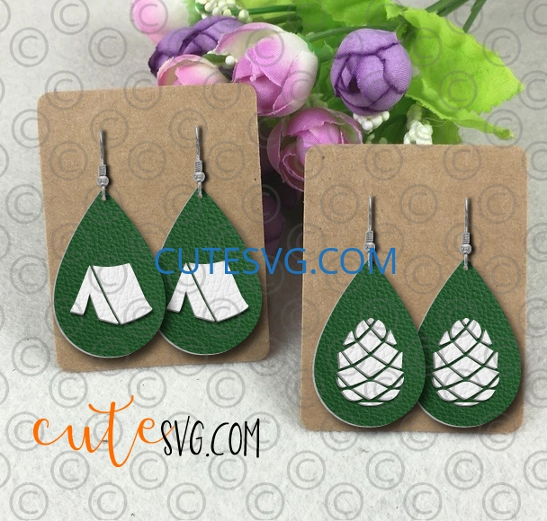Camping tent pine cone camping tear drop leather earring template svg dxf png cut files