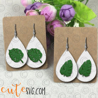Tropical Leaves Earring Templates SVG DXf PNF Cut files