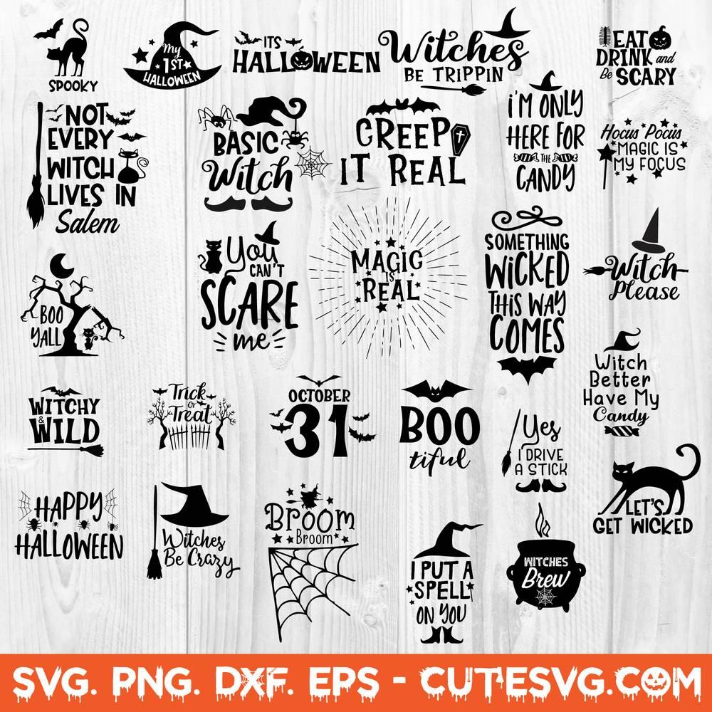Halloween Svg Bundle Dxf Png Eps Cut Files Halloween Sign Svg