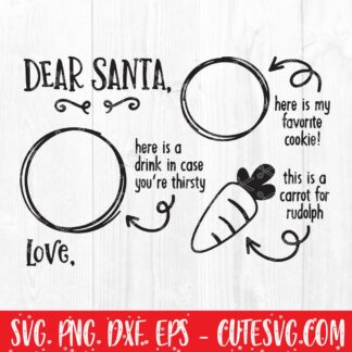 Dear Santa Cookies And Milk Svg