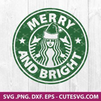 Merry and Bright Starbucks Logo SVG