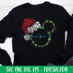 Mickey with Santa hat SVG