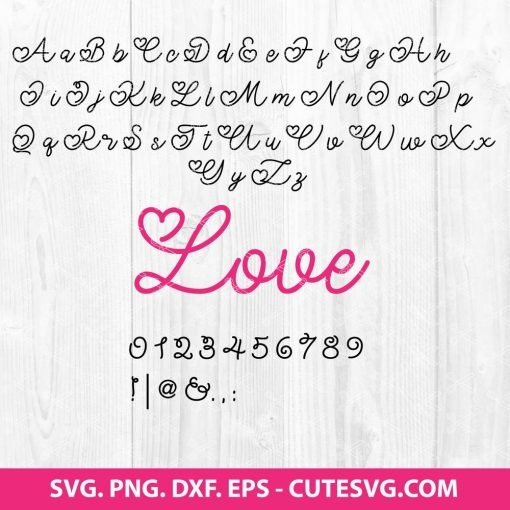 Valentine Font SVG Cut File