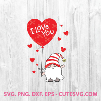 Valentine gnome I love you svg