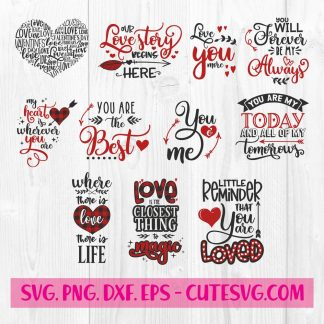 Valentines Love Quote SVG bundle