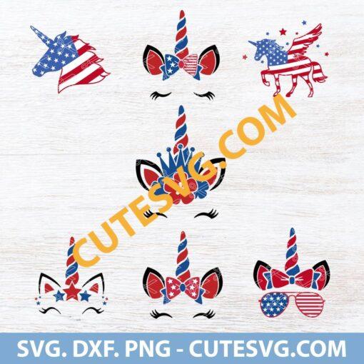 4th of July unicorn SVG Cut file