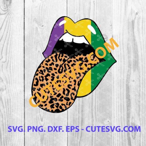 Leopard Mardi Gras Lips SVG File
