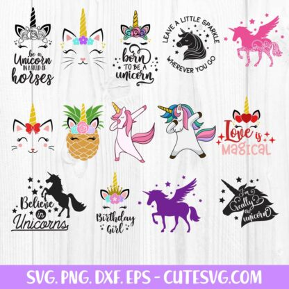 Designs Unicorn Bundle SVG