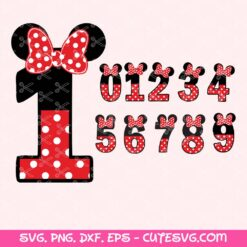Minnie Mouse Numbers SVG