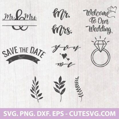 Mr and Mrs Monogram Wedding SVG