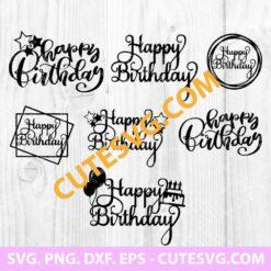 Happy birthday cake topper svg